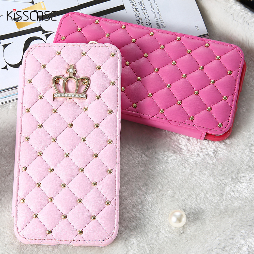 KISSCASE Luxury Leather Case For iPhone 7 6 Plus Crown Grid Cover Coque For iPhone 7
