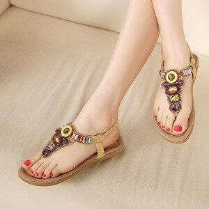 Image 5 - BEYARNE Woman Sandals Bead Bohemian Clip Toe Comfortable Thong Shoes Boho Elastic Band Back Strap Flat Beach Shoes Plus Size 41