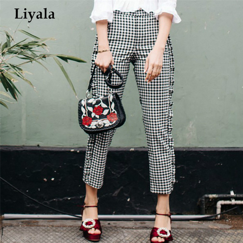 Autumn England Black White Checkerboard   Pants   Woman Cotton   Capri   Frill Casual   Pants   Female Side Zipper Up Checkered Trousers