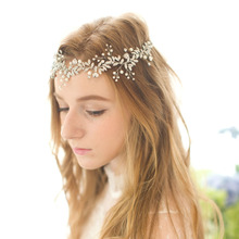 2017 New Arrival Handmade Alloy Wired Rhinestones Crystals Pearls Flower Leaf Wedding Headband Bridal Hair Vine Hair Accessories