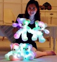 1 PZ 35 CM 2015 stile Teddy Bear Plush Toys Glow colorful music orso di peluche dolls san valentino presente per la tua ragazza