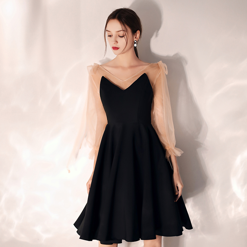 2019 V-Neck Long Sleeves Zipper Back Above Knee Mini Black   Cocktail     Dress   Short Party   Dress   Evening Elegant Formal   Dress   LF386