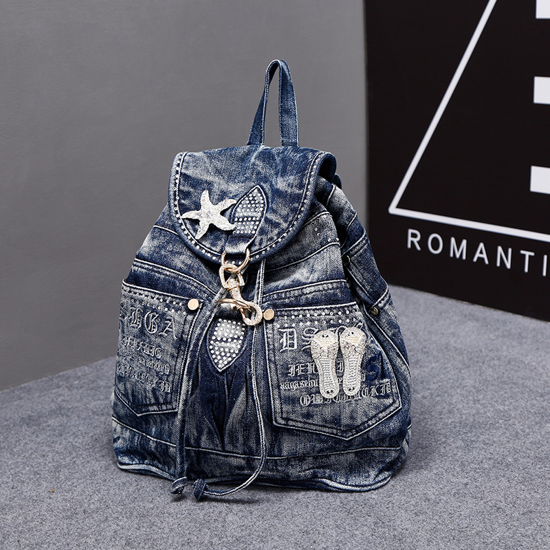 New Vintage Fashion Rhinestone Star Preppy Style Denim Jeans Women Girl s Travel Daypack Backpacks Totes