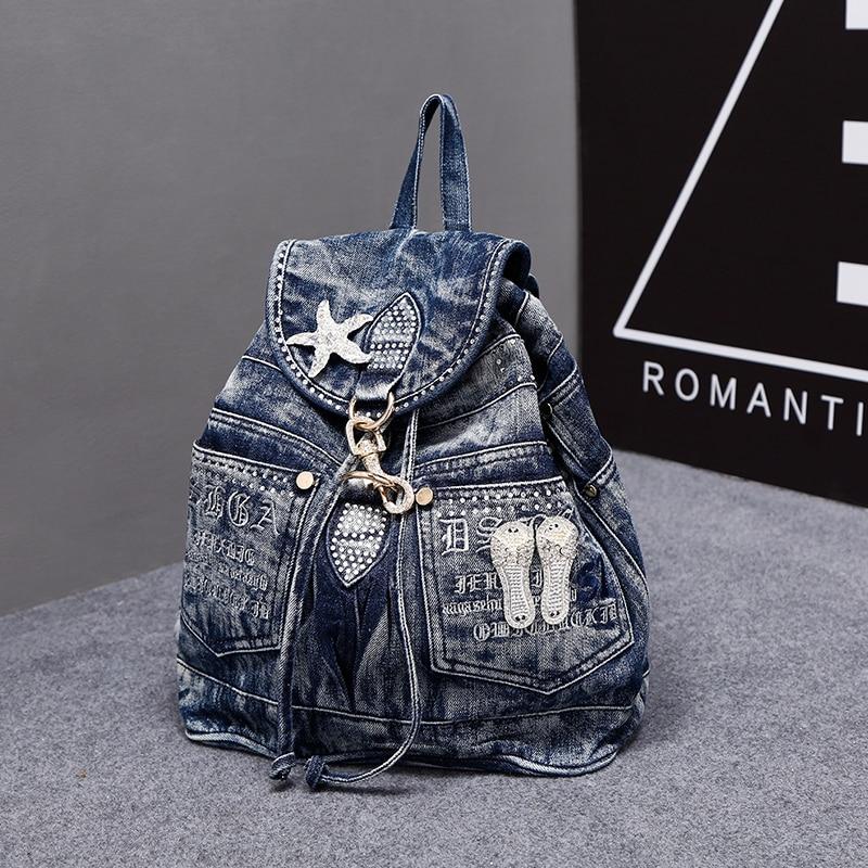 Nouveau Vintage mode strass étoile Preppy Style Denim Jeans femmes fille voyage sac à dos sacs à dos fourre-tout sac d'école