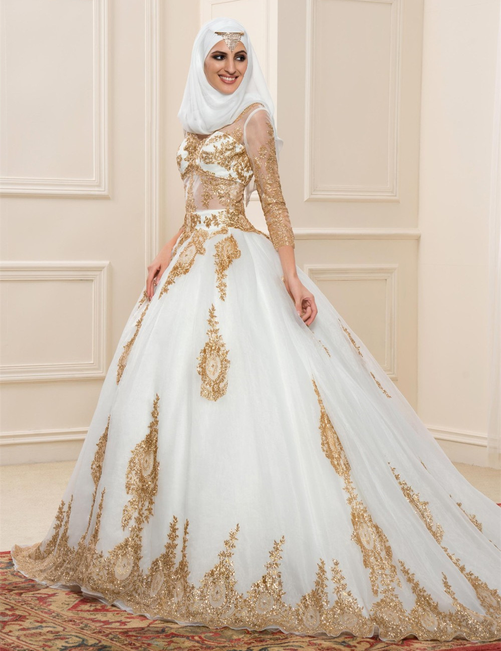 Gold Lace Muslim Wedding Dresses With Sleeves 2016 See Through Ball Gown font b Hijab b