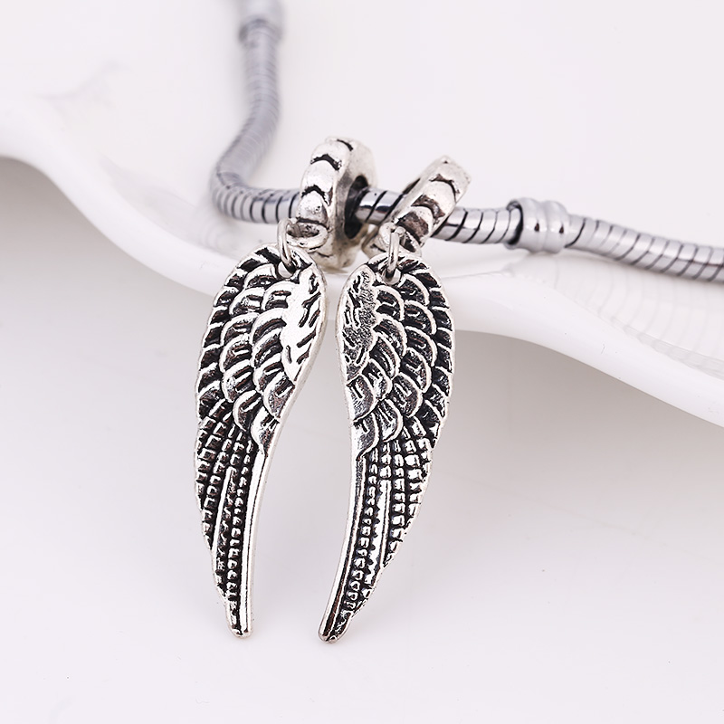 Tibetan Silver Metal Angel Wings Beads Fit Pandora Charms DIY Zinc Alloy Angel Winga Beads Charms For Jewelry 10pcs BA1142