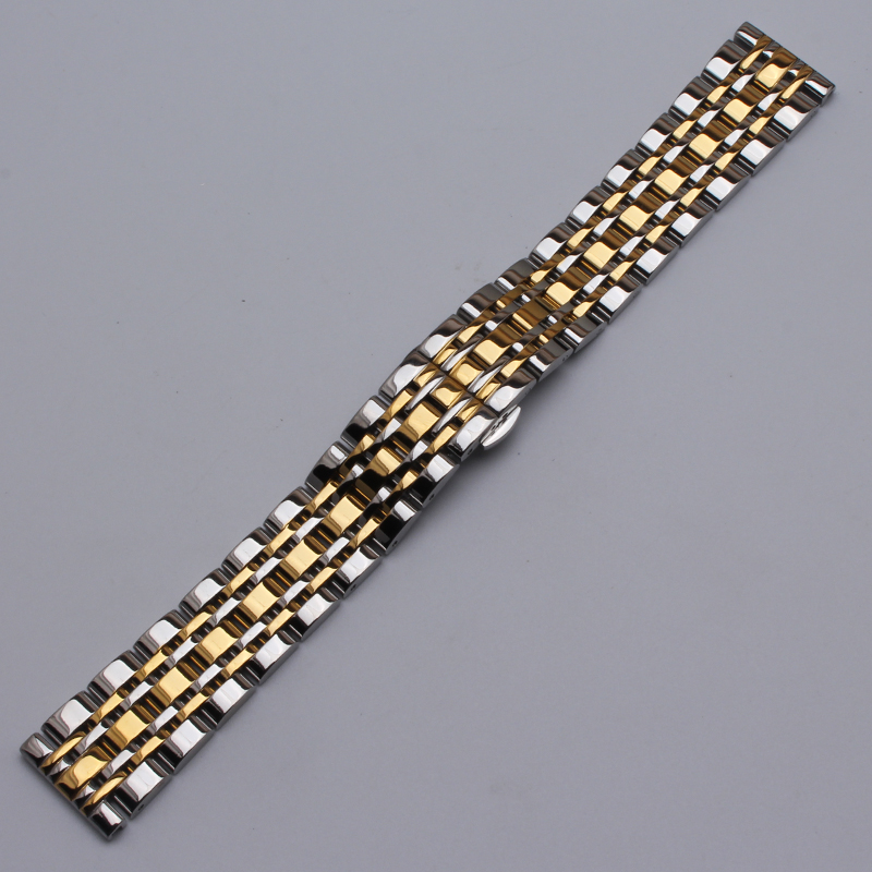 Stainless Steel Watch Band Watch Strap Silver mixed Gold color WITH METAL Butterfly Clasp Bracelet WATCHBAND 14mm 16mm 18mm 20mm
