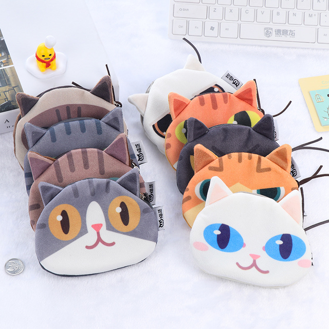 New Cute Cat Face Printed Zipper Coin Purses For Kids Students Pencil case Cartoon Wallet Bag Pouch Children Holder girls purse