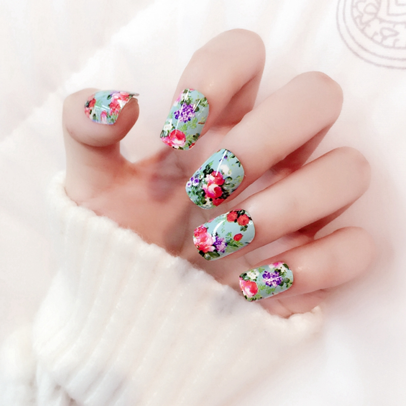 24pcs Gorgeous Peony Nails Decoration Princess Garden Short Round Acrylic Fake Manicure Accessories Z320