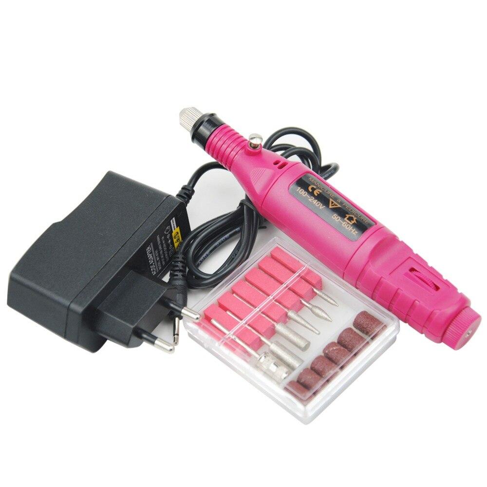 1 juego de poder eléctrico profesional manicura máquina pluma pedicura uñas herramientas de uñas 6 bits taladro del clavo de la máquina