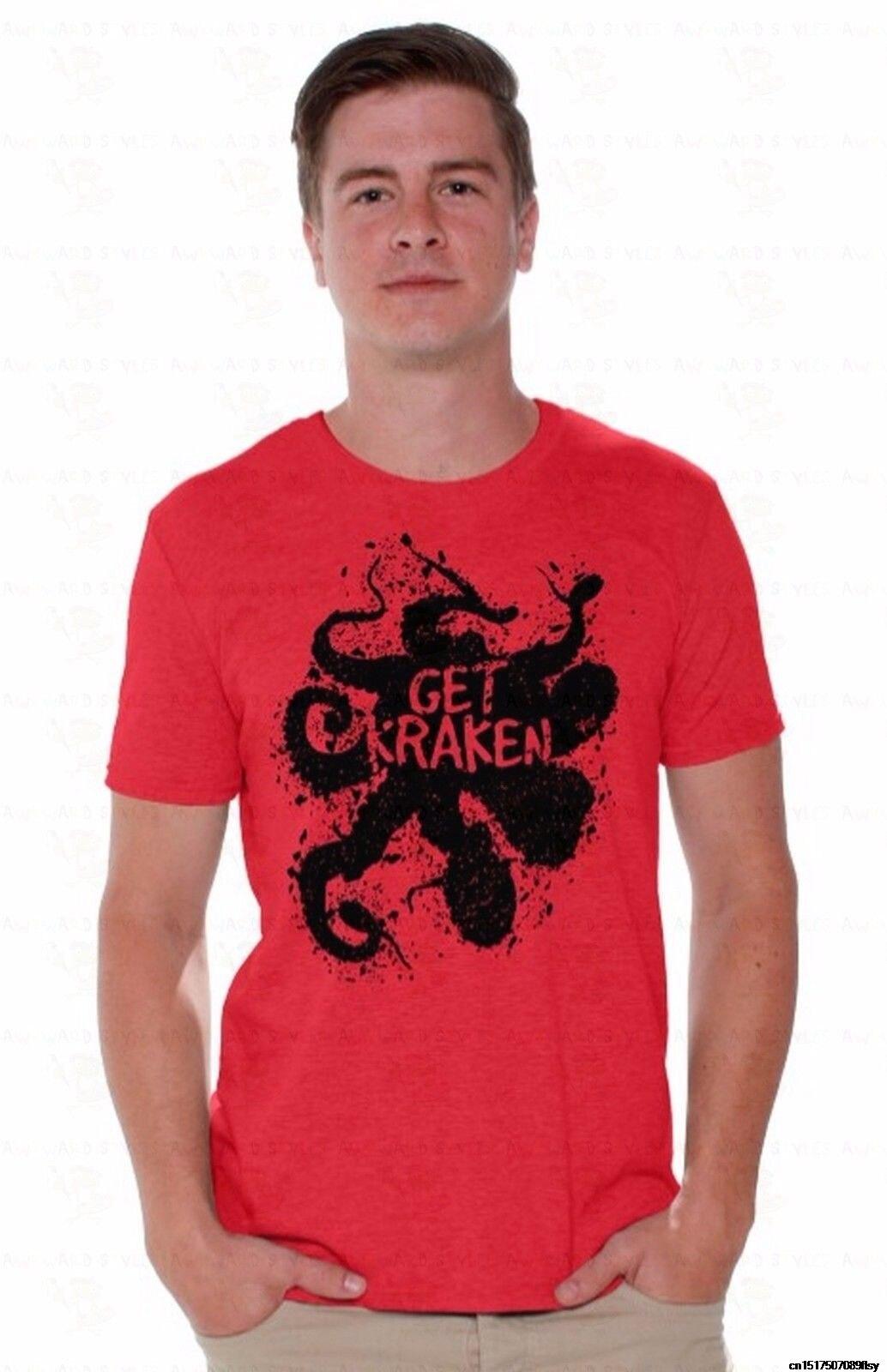 Novelty T Shirt For Men T Shirt O Neck Men Get Kraken Mens T Shirt Squid Octopus Get Kraken The Caribbean Shirt A22