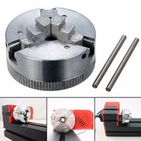 Metal 3 Jaw Lathe Chuck M12*1 45mm Hardened Chuck Self Centering with 2pcs Lock Rods For Drilling Milling Machine