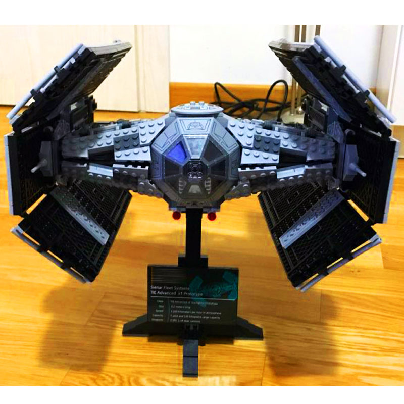 LEPIN 05055 1212pcs Star Series TIE Advanced Fighter Model Building Block set Brick Educational Toy For children Gift 10175 dhl lepin 05055 star series military war the rogue one usc vader tie advanced fighter compatible 10175 building bricks block toy
