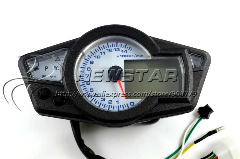 14000rpm mph kmh lcd digital speedometer tachometer odometer motorcycle motor dirt bike scooter. Black Bedroom Furniture Sets. Home Design Ideas