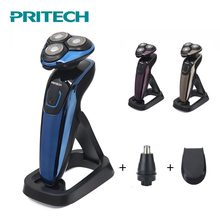 PRITECH 3 In 1 Electric Shaver For Men Rechargeable Shaving Machine 4D Professional Beard Trimmer Razor Washable Nose Trimmer kemei 3 in 1 washable shaver men shaving machine nose trimmer barbeador 3d beard shaver razor