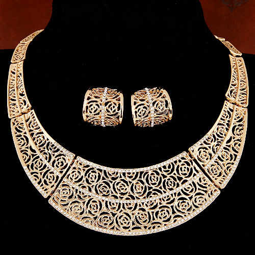 Piercing Collares Earrings Fine African Jewelry Sets Bridal Maxi Necklaces+ Pendientes Gold/Silver Plated Wedding Joyeria Women