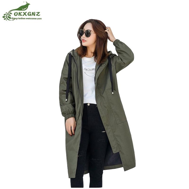 Boutique womens windbreaker coat new medium long spring new casual wear hooded loose couple models casual jacket female OKXGNZ