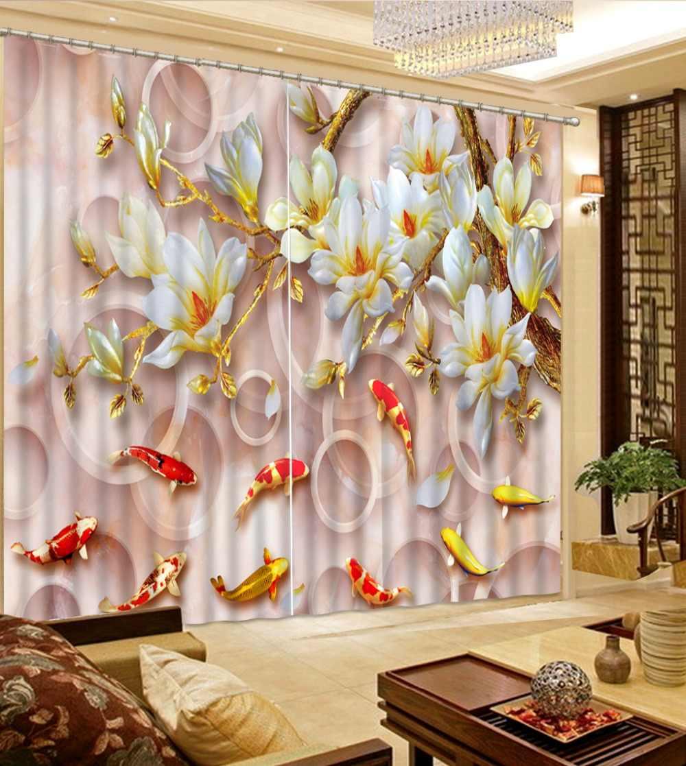Золотые шторы окна для гостиная спальня Jade вырезка цветок плотные шторы фото 3d