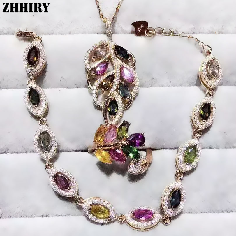 ZHHIRY Women Natural Tourmaline Gem Stone Jewelry Sets Real Solid 925 Sterling Silver Set Girl Ring