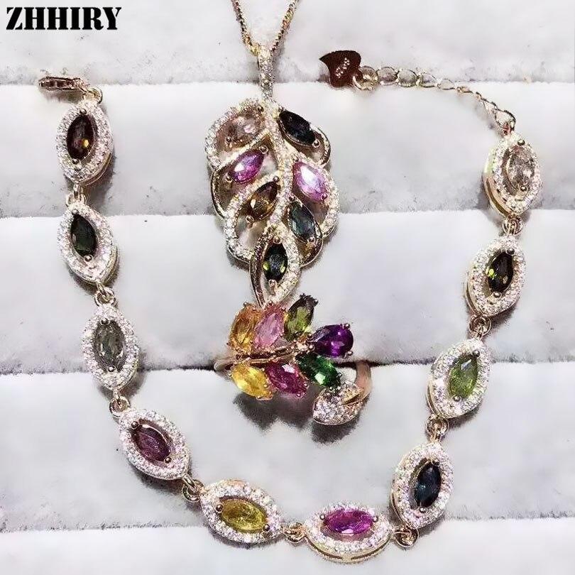 Здесь можно купить  ZHHIRY Women Natural Tourmaline Gem Stone Jewelry Sets Real Solid 925 Sterling Silver Set Girl Ring Necklace Pendant Bracelet  Ювелирные изделия и часы