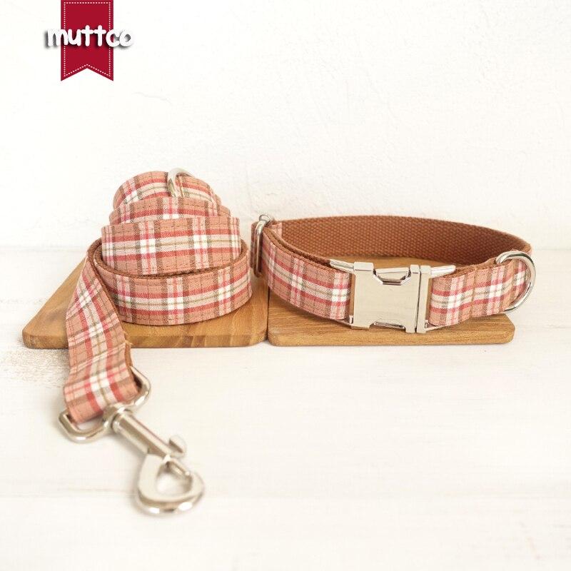 20pcs/lot MUTTCO wholesale durable dog accessory handmade cotton and nylon dog collars and leashes set THE ORANGE PLAID 5sizes