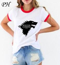 New women's t-shirt Game of Thrones Shirt Winter is coming stark wolf funny casual t shirt womens summer tshirt women clothing 2