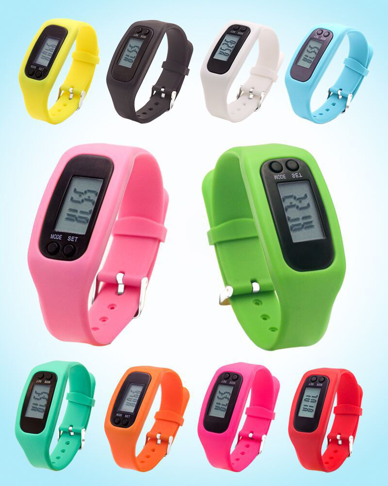 Multifunctional digital lcd pedometer watch runstep pedometer silicone watch fashion bracelet calorie walking couter exercise