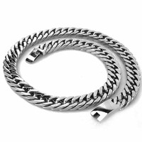 15MM/17MM Miami Cuban Chains Necklace For Men Hip Hop Jewelry Wholesale Thick Stainless Steel Big Chunky Choker Necklace