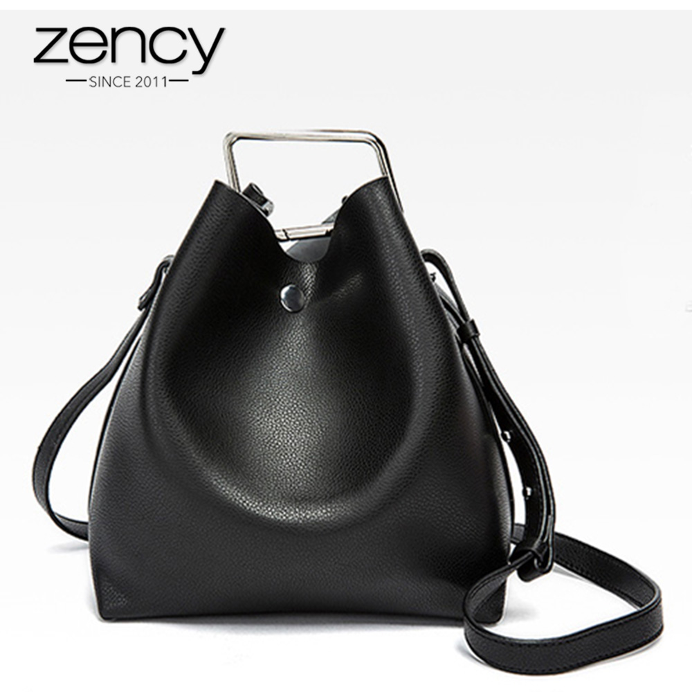 Zency 100% Genuine Leather Lady Casual Tote Elegant Handbag Fashion Women Shoulder Bag Messenger Crossbody Purse Female Bucket 2016 women fashion brand leather bag female drawstring bucket shoulder crossbody handbag lady messenger bags clutch dollar price