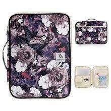 Storage-Bag Ziper Hibiscus Briefcase Documents Flower-Print A4 Waterproof for iPad Multifunctional