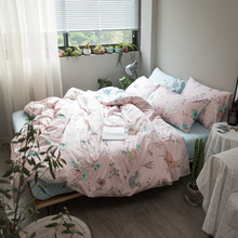 Cute Animals Light Pink 3/4Pcs Bedding Sets Twin Queen King Size Cotton Bedlinens Duvet Cover Sheet Pillow Cases Bedclothes