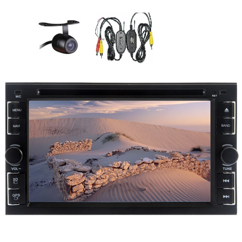 Car Head Unit Stereo 2 Din 6.2 Inch Bluetooth USB/SD IPod RDS AM FM IR Transmitter Radio iPod Media Wireless Backup Camera