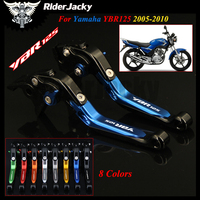 Blue+Black Motorcycle Accessories Folding Extendable Brake Clutch Levers For YAMAHA YBR125 YBR 125 2005 2010 2006 2007 2008 2009
