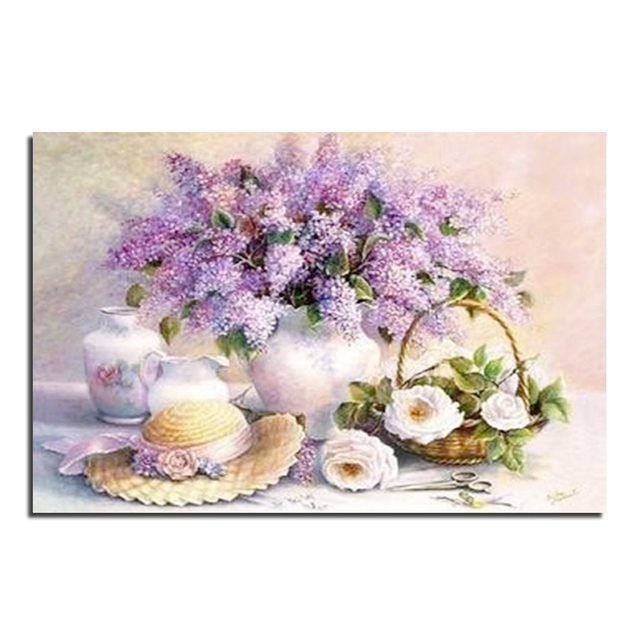 Lilac Flowers In The Vase Wholesale Diy Diamond Painting Home