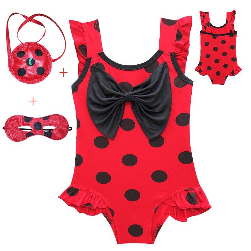 Swimwear Girls 2019 Ladybug Kids Bathing Suits One Piece Swim Suit Baby Bikini Children Swim-Wear Printed Mask Bag LOL Beachwear