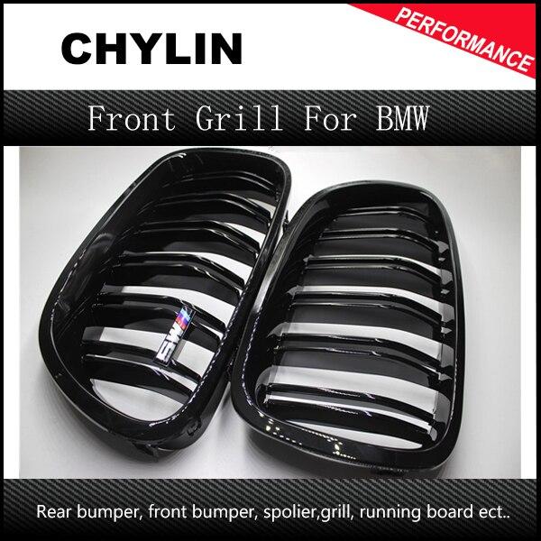 Une Paire 5 Série F10 Brillant Noir Double Latte M5 Style Avant Calandre Grill Pour BMW F10 520i 523i 525i 530i 535i 2010 +