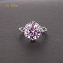 OneRain anillo de compromiso de plata de ley 100% con piedra preciosa de corte redondo, anillo de compromiso de oro blanco