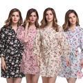Novo Estilo de Flores de Algodão Feminino Camisola Robe Vestido de Casamento Da Noiva Da Dama de honra Sexy Short da Cópia do Quimono de Verão Vestido Casa G04