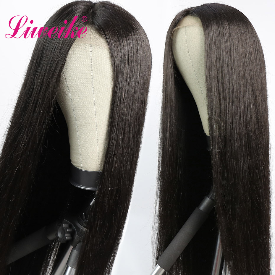 Liweike Straight Remy Human Hair Bundles With 4*4 Lace Closure Sewing Wig Silky 34 36 38 40 Inch 250% Density Closures Wigs 1B