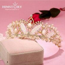HIMSTORY Handmade Beaded Crystal Pearl Bridal Tiaras Wedding Diadem for Bride Headwear Hair Jewelry Accessories