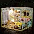 Casa de Bonecas em miniatura Com Tampa Protetora Contra Poeira do Enigma 3D Brinquedos Criativos Diy Casa De Bonecas Miniaturas de Móveis casa de Bonecas Bonecas Para Casa Presentes de Aniversário