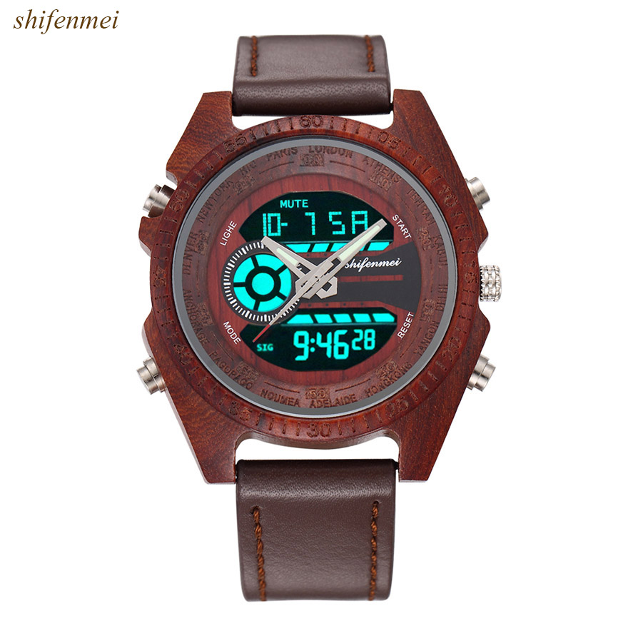 Image 5 - Men Wooden Watches Relogio Feminino Digital And Quartz Wristwatch Timepieces Dual Display Watch luxury Top Masculino OrologioQuartz Watches   -