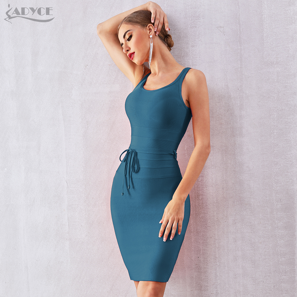 ADYCE 2019 New Summer Women Bandage Dress Vestido Sexy Strapless Spaghetti Strap V Neck Club Dress Celebrity Evening Party Dress