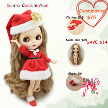 Blyth Doll Christmas Dress & Hat & Shoes 1/6 Joint Body with Matte Face Santa Suit(China)