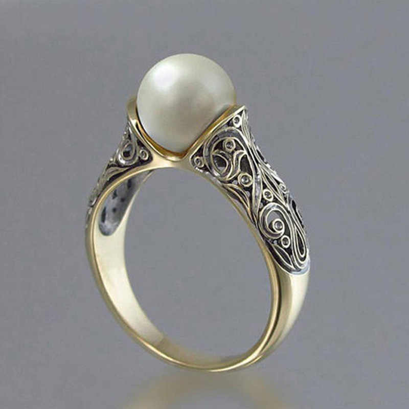 Gold Color Punk Vintage Flower Big Simulated Pearl Ring for Woman jewelry