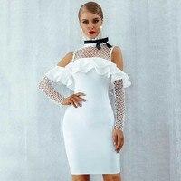 Wholesale 2019 new style dress White Grid long sleeve Elastic tight Fashion mini Leisure Celebrity Party bandage Dress(H2377)