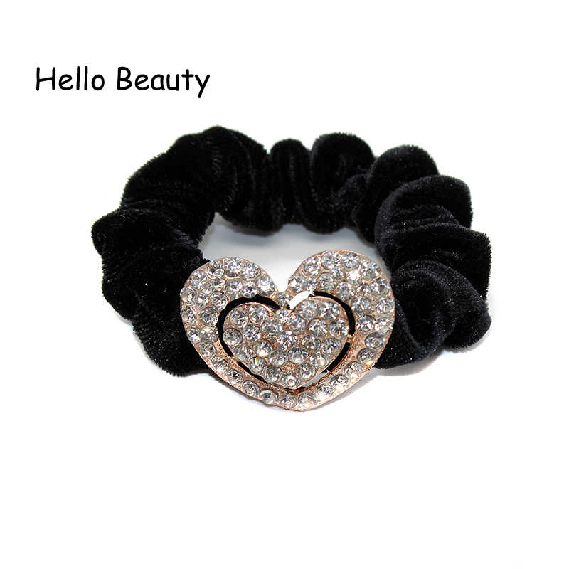 Fashion Hair Jewelry Accessories Crystal Rhinestone Heart Elastic Velvet Hair Bands Scrunchies Donut Ponytail Holder For Women