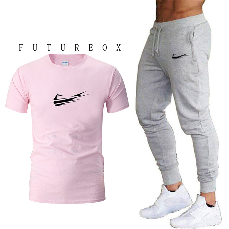 Summer Hot Sale Men's Sets   T     Shirts  +pants Two Pieces Sets Casual Tracksuit Male 2019 Casual Tshirt Gyms Fitness trousers men
