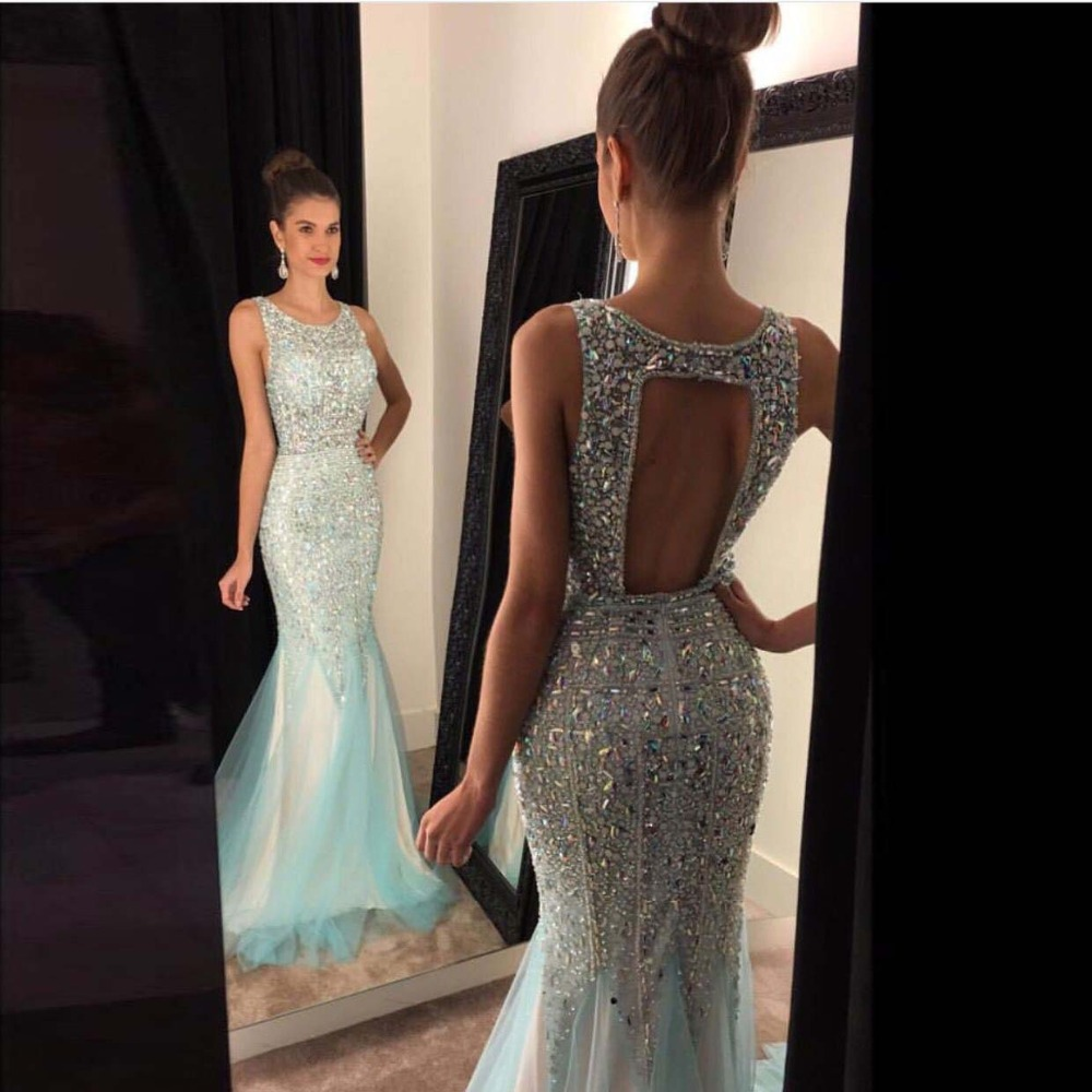 Hole Back Crystal Beading Prom   Dresses   Floor Length Tulle Beading Graduation Prom   Dresses   Formal   Evening     Dress   Custom Made