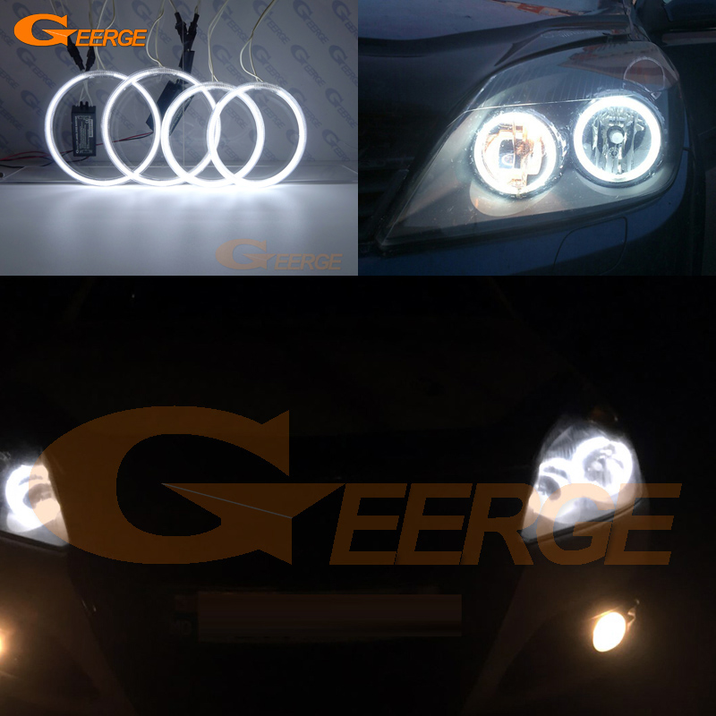 For OPEL Astra H 2004 2005 2006 2007 pro-Facelift Halogen headlight Excellent Ultra bright CCFL Angel Eyes kit halo rings free shipping super bright ccfl angel eyes halo rings kit for bmw e83 x3 auto headlight 4 rings 2 waterproof inverters page 7